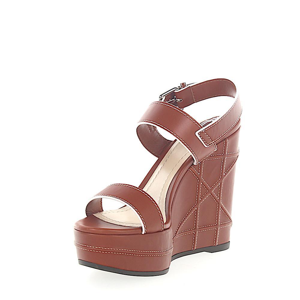 75c1c021759 Dior - Platform Sandals Calfskin Smooth Leather Stitching Brown - Lyst.  View fullscreen