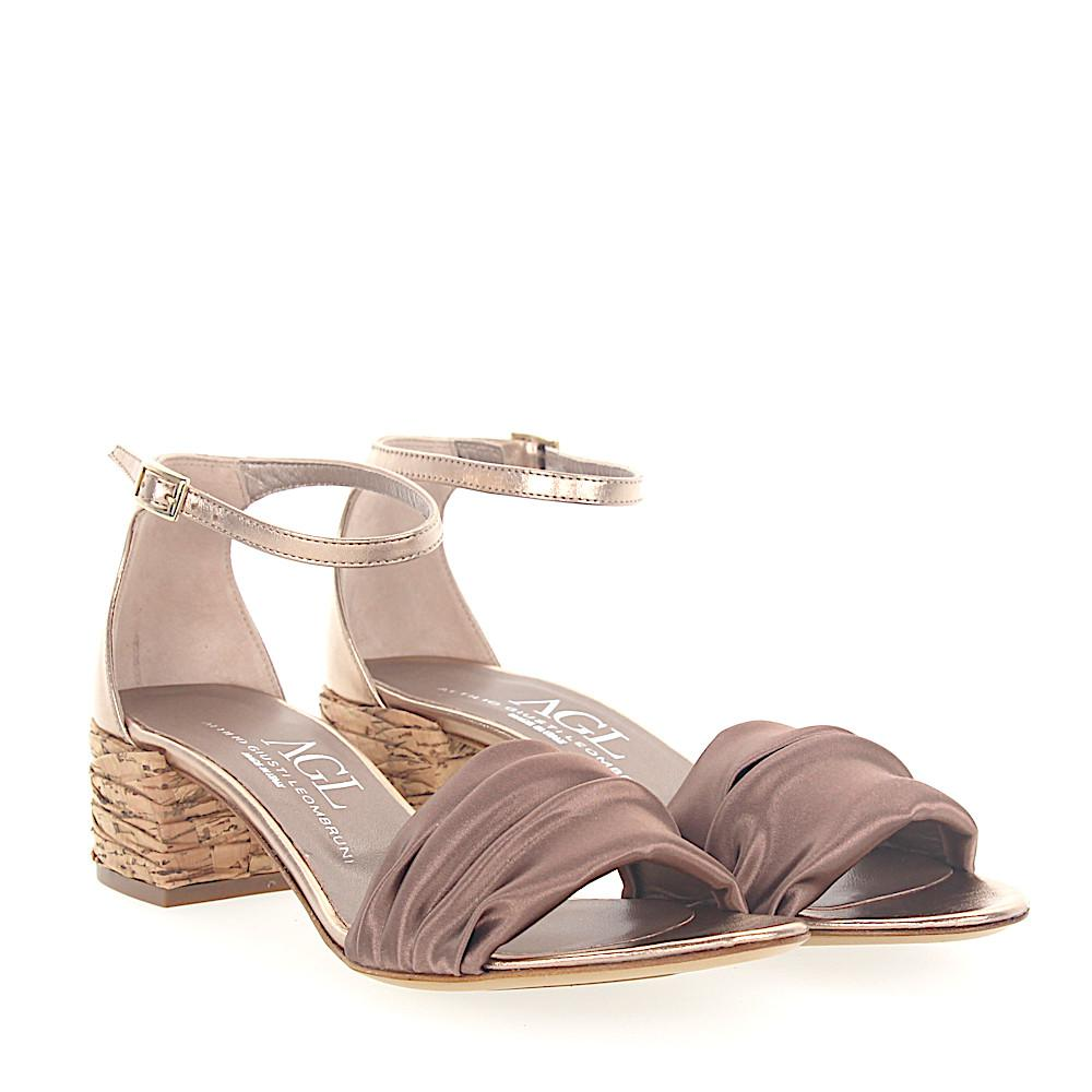 AGL ATTILIO GIUSTI LEOMBRUNI Sandals D631052 satin bronze leather metallic LSg6J0cC