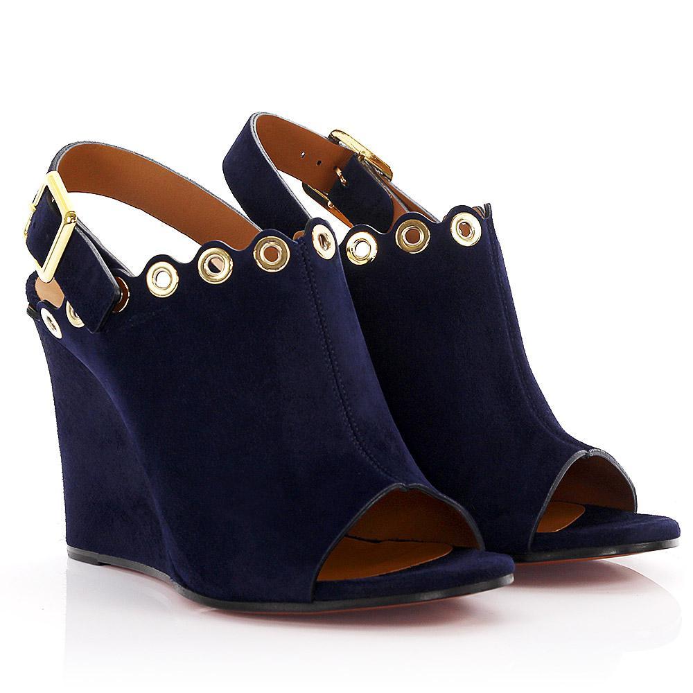 Chloé Wedge sandals CH26082 suede dark metal decoration qUsgLKt