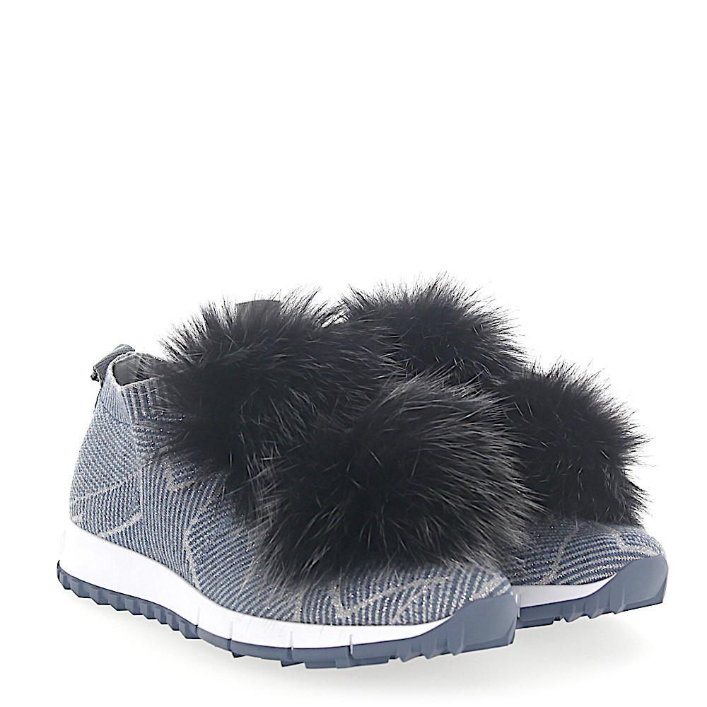 Jimmy choo Sneakers NORWAY fabric stars print pompon fox fur black 0JJOW