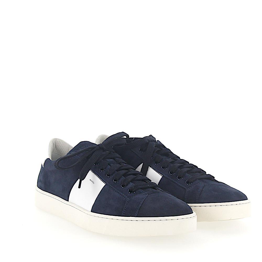 Sneaker 20733 calfskin suede green white Santoni kQwomT2kdW