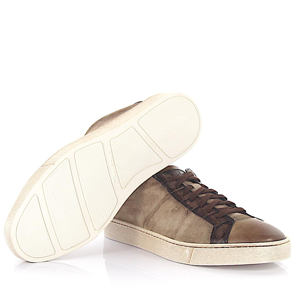 Sneaker low 20000 suede leather taupe finished leather brown crocodile embossed Santoni tFE2sO