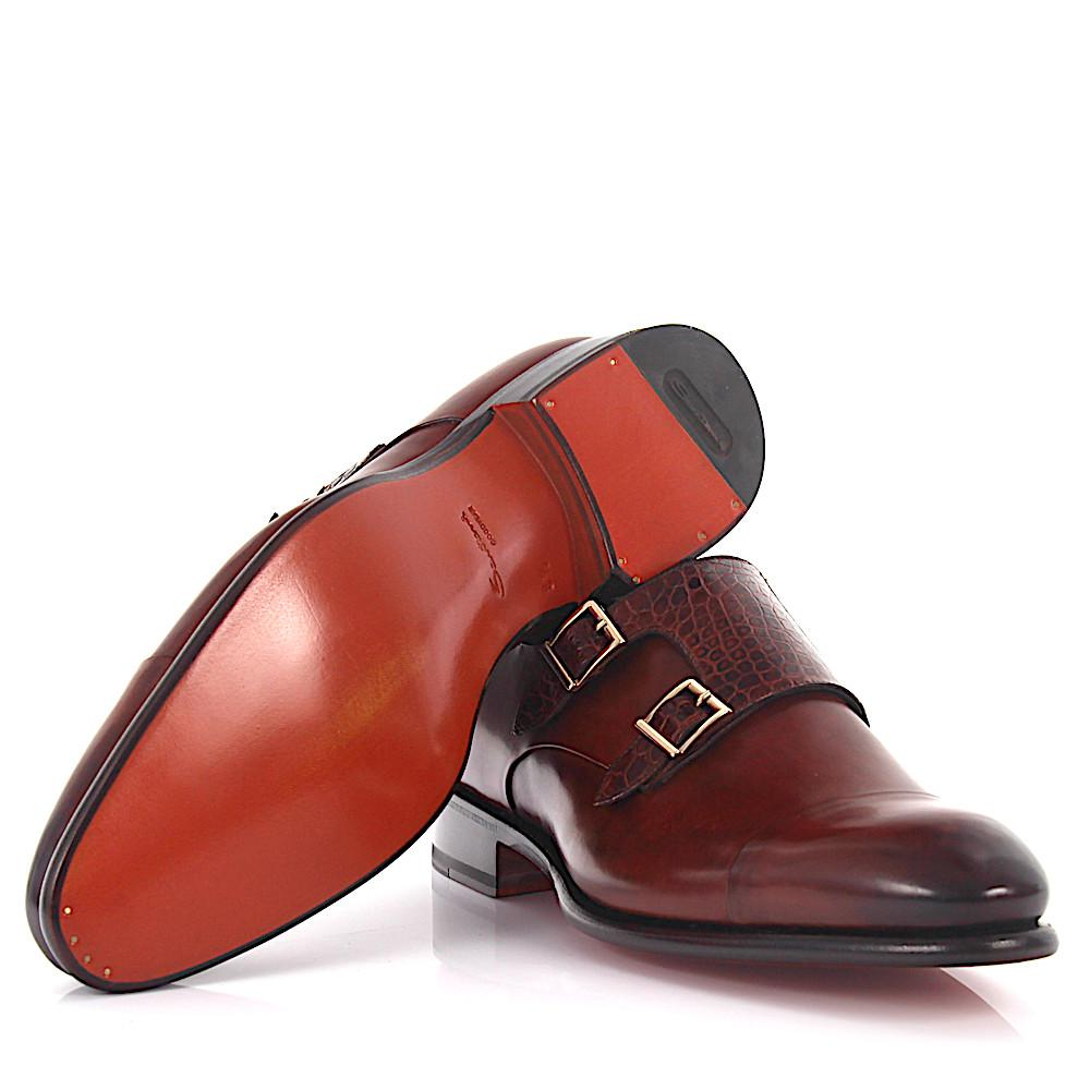 Double-Monk-Strap 14571 leather crocodile leather red brown Goodyear Welted Santoni FwKLVF5