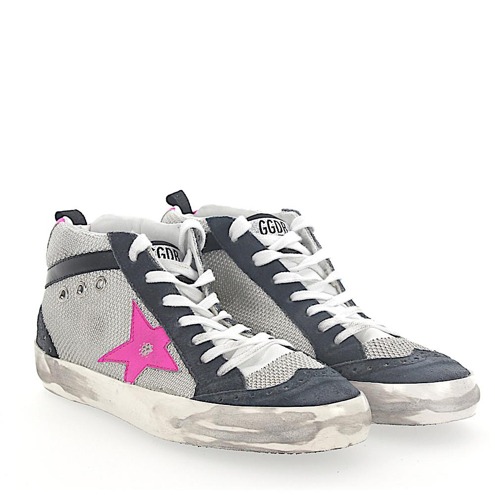 Golden Goose Sneakers Mid Top G31WS Hightech-Jersey suede blue Star-Patch BeE7T