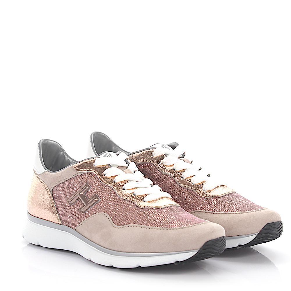 Sneakers OLYMPIA suede fabric beige leather metallic rosè Hogan sLGX3u