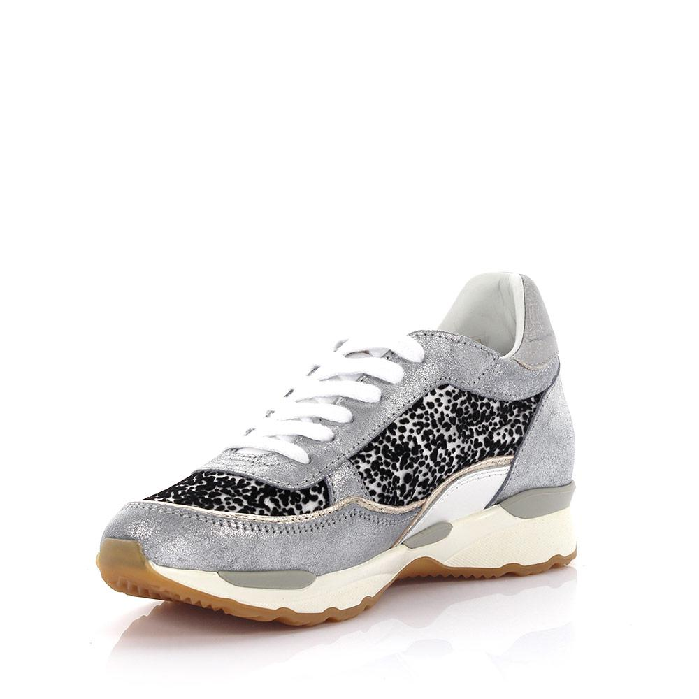 Philippe model Sneakers City Bassa leather silver finished fabric black white SsmoB4gTSx