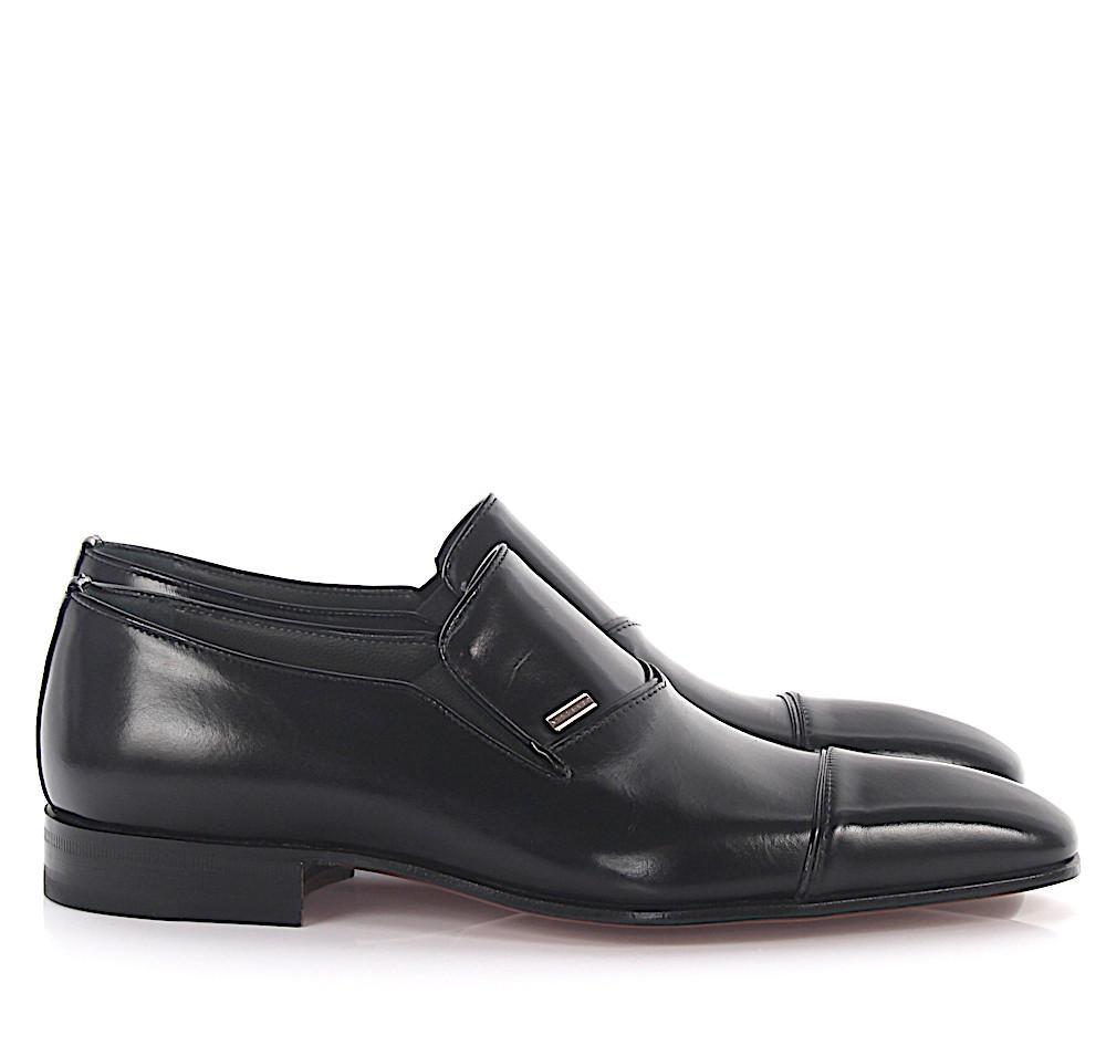 Slipper Vitello Cuoio leather black Moreschi QjbqRO6x