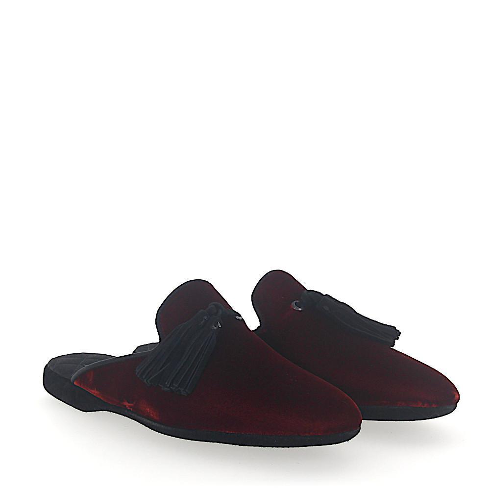 santoniHouse Slippers A1647 velvet claret fringes