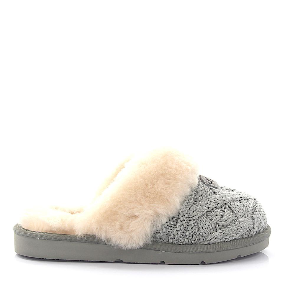 Lyst - UGG House Slippers Cozy Cable Knitted Grey Lamb Fur in Gray fd3c8eb61