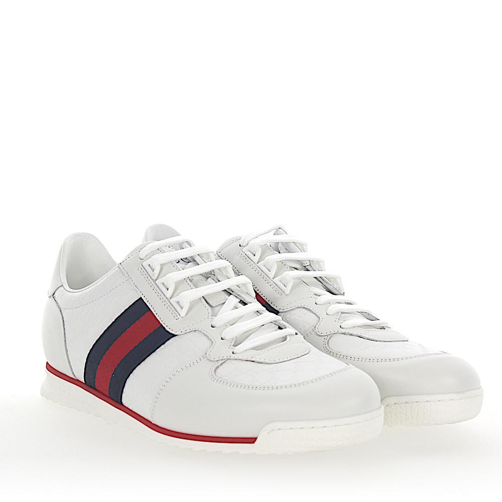 GucciSneakers A9LA0 Microssima leather stripes Wlgikh4zUg