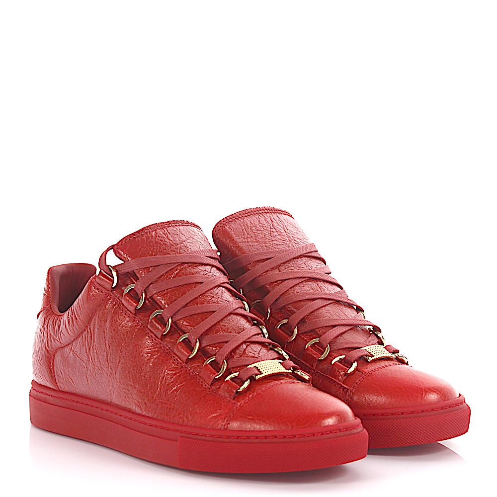 9b1911e8a654 Balenciaga Sneakers Low Top Arena Leather Red Crinkled in Red - Lyst