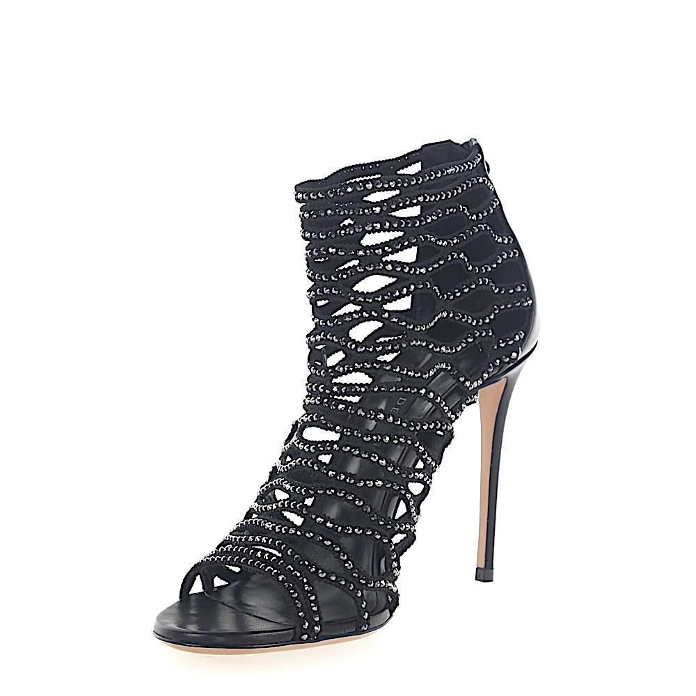 Sandals 1L640 stretch black nappa leather black glitter Casadei feLD1d