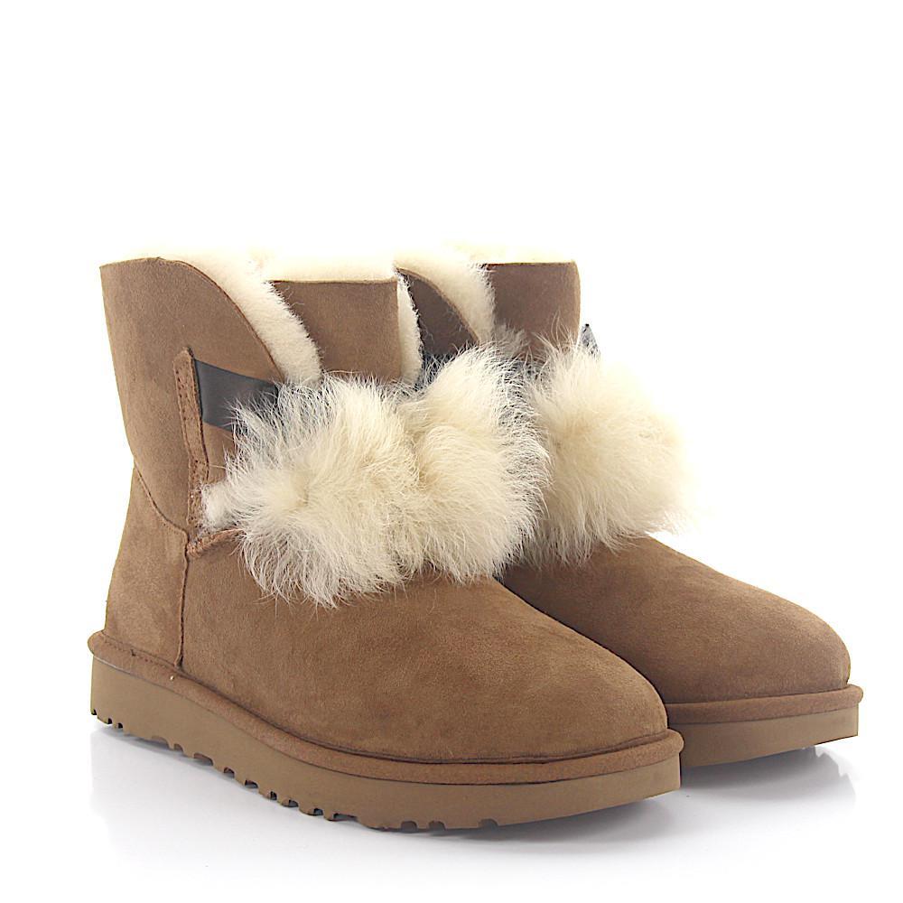 UGG Ankle Boots GITA suede pompom lamb fur FESUv