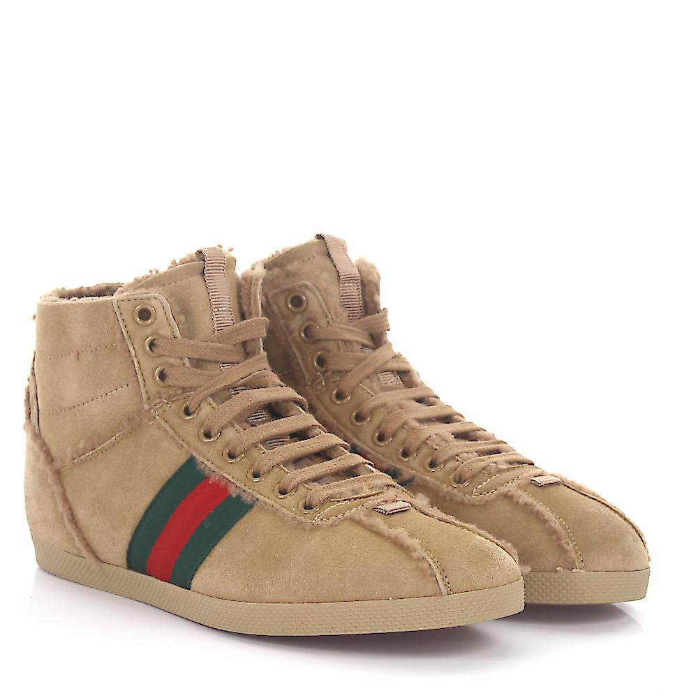 soLs3gdhCH Sneakers mid top suede woven details green red lamb fur hWu1u0Ga