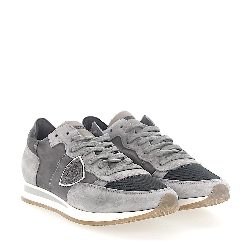 Sneaker TROPEZ calfskin mesh suede grey Philippe Model O1uAo