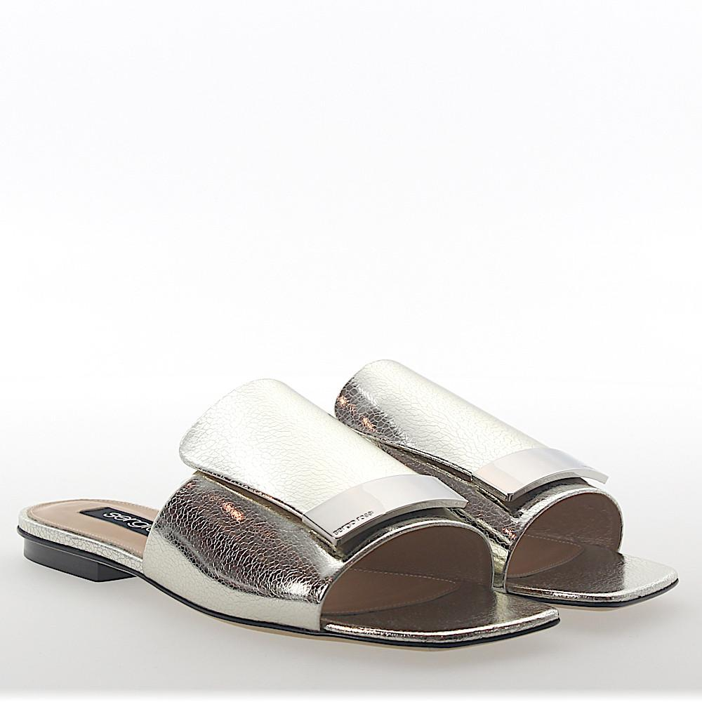Sandals A80380 leather metallic gold finished silver plated Sergio Rossi 7FVooDPtG