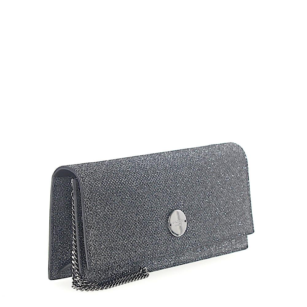 Clutch Handtasche FIE Glitzer-Lamé anthrazit Jimmy Choo London fb8KIOecuu