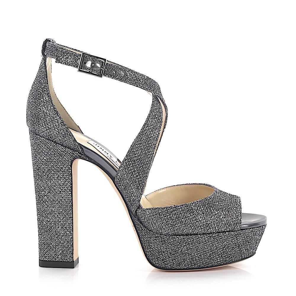 Jimmy choo Sandals April plateau lamé-woven glitter fabric anthracite Nibggt6