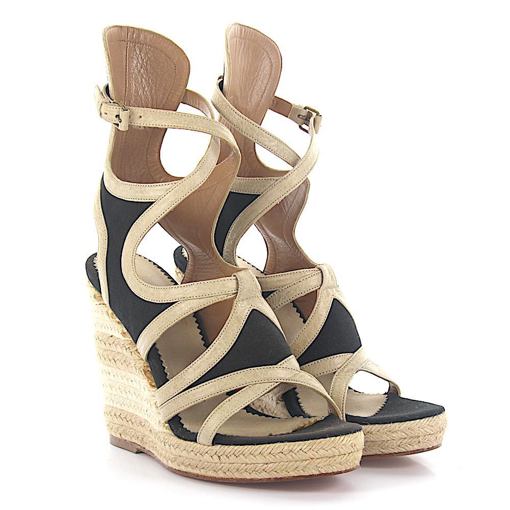 f06427e5082 Balenciaga - Natural Wedge Sandals Strap Leather Beige Fabric Black - Lyst.  View fullscreen