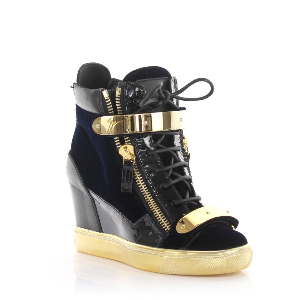 060a0fa8089b Giuseppe Zanotti Wedge Sneakers Lorenz Patent Leather Black Velvet ...