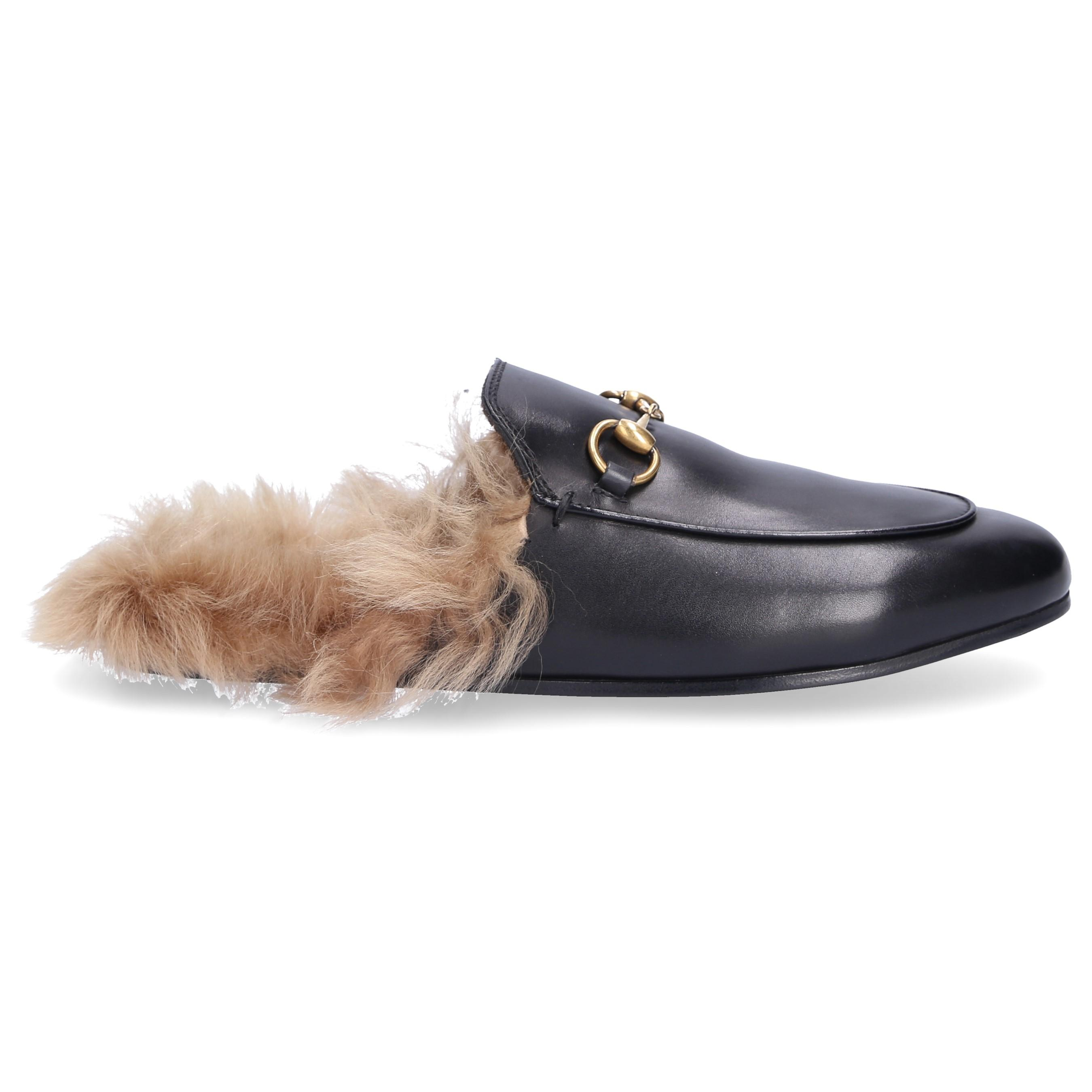 367e8189f Gucci Slip On Shoes Dkhh0 Lamb Fur Smooth Leather Horsebit-detail ...