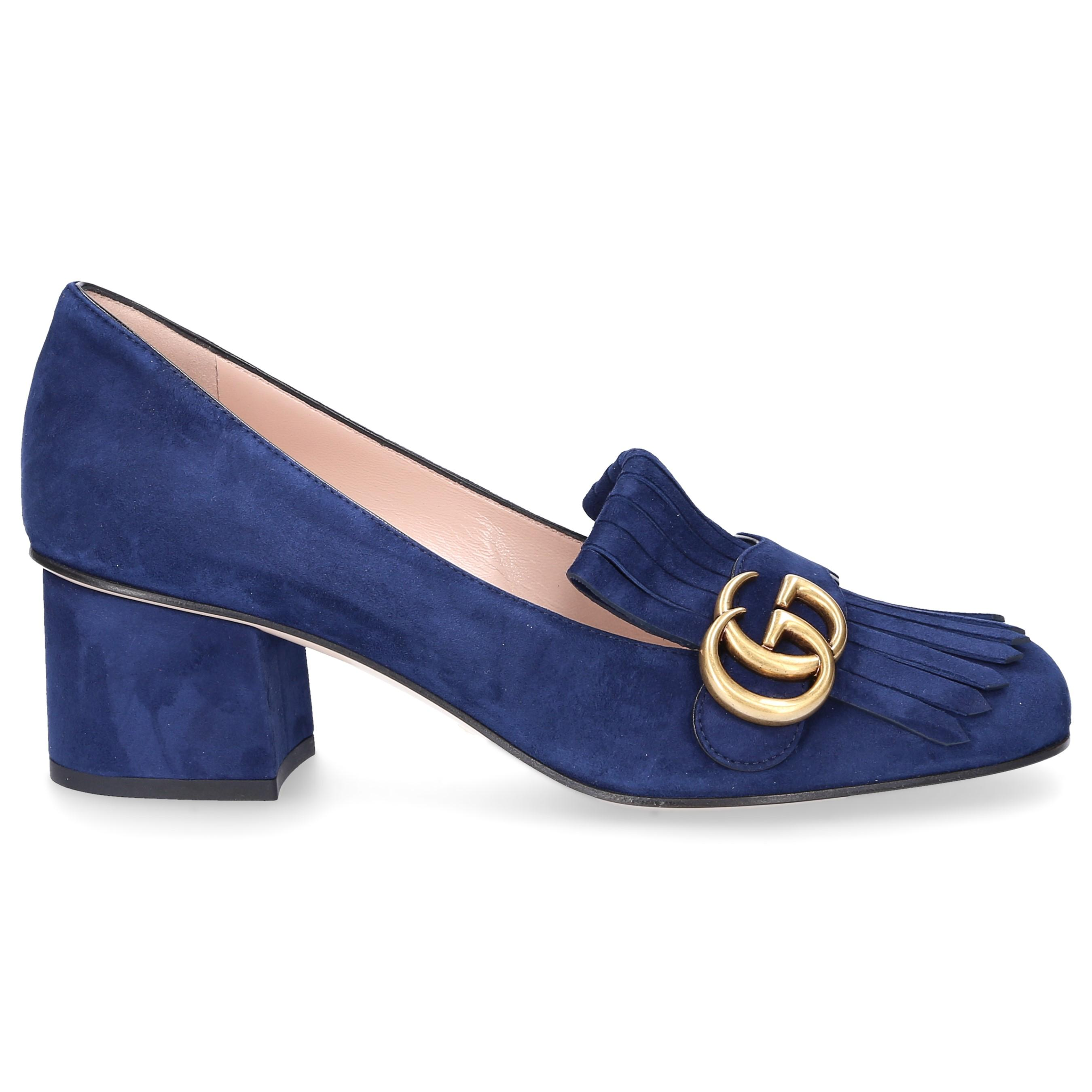 47fcb8c2b25 Gucci Pumps Marmont Suede Fringe Blue in Blue - Lyst