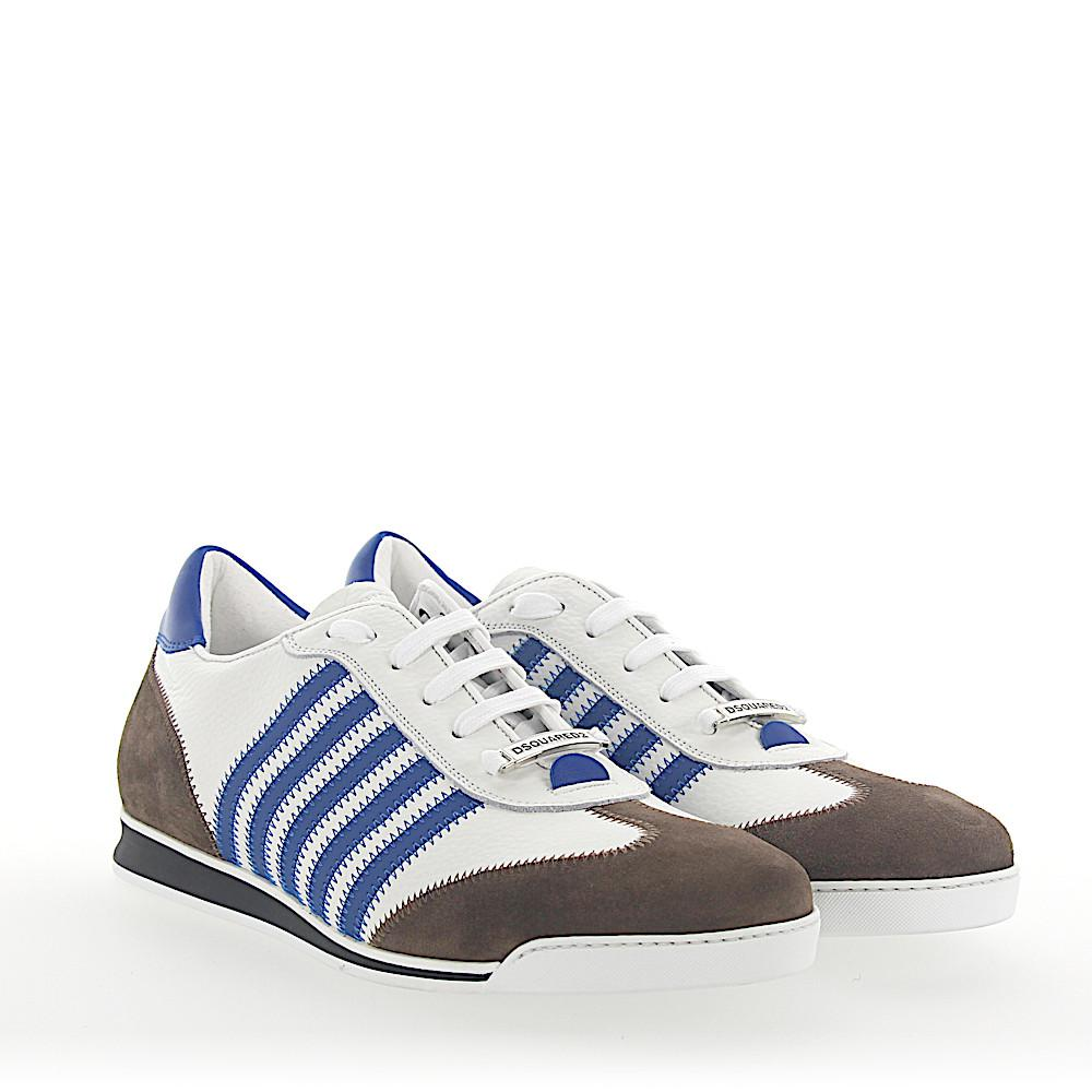 Sneakers NEW RUNNER leather white blue suede brown Dsquared2 r5dlGrIy