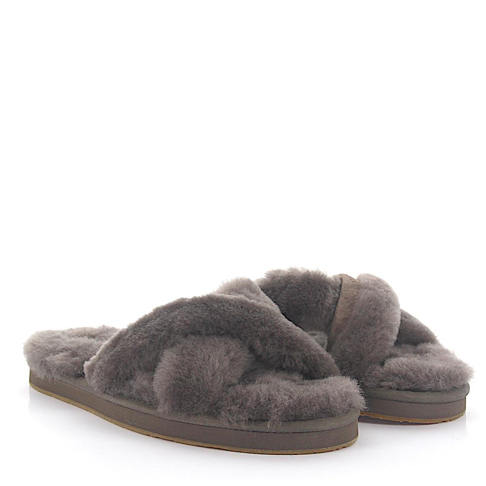 UGG House Sandals ABELA fur suede brown 95el94wy