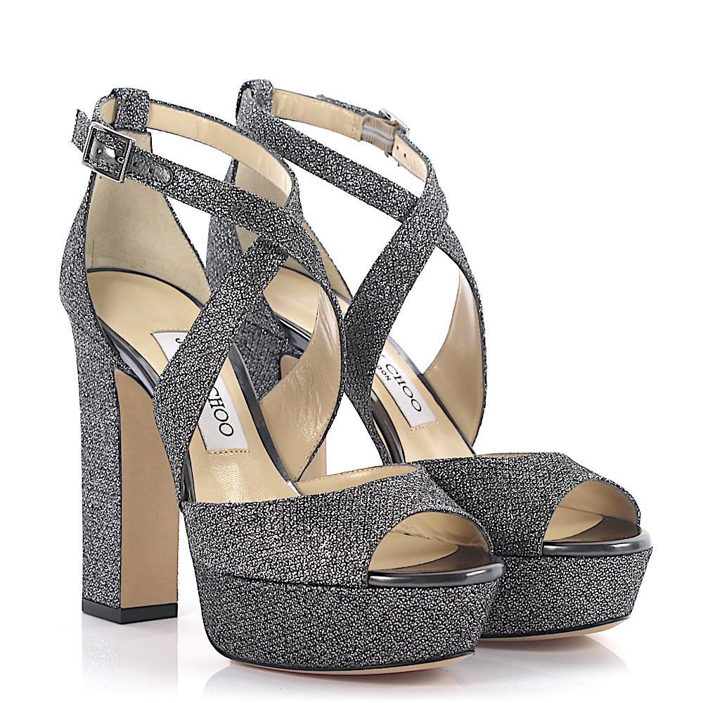 f10360978f39 Jimmy Choo Sandals April Plateau Lamé-woven Glitter Fabric ...