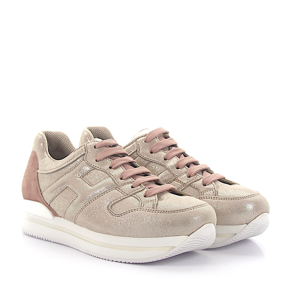 Sneaker nubuck smooth leather Logo Metallic beige Hogan