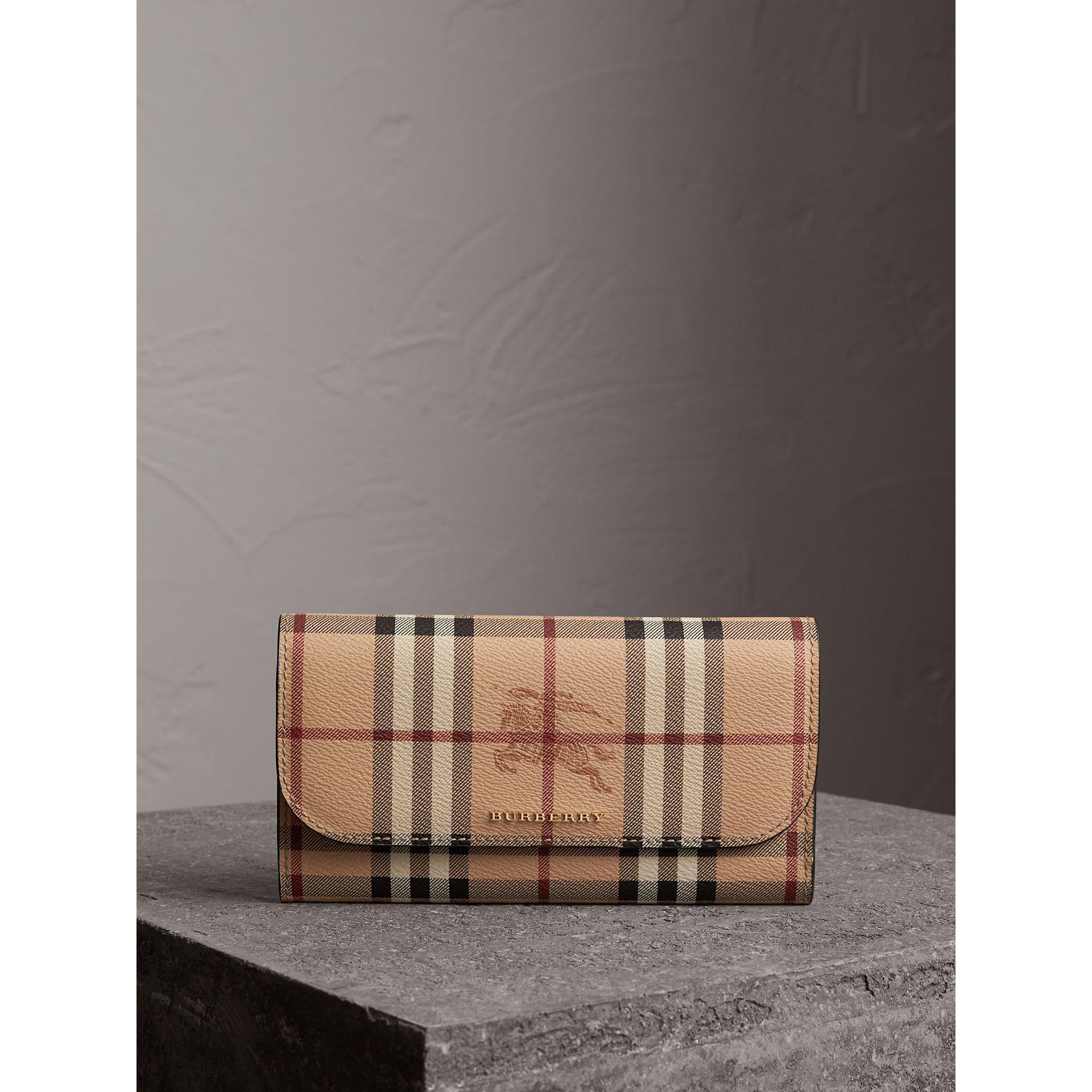 Haymarket Check and Leather Slim Continental Wallet - Brown Burberry qy0Qo