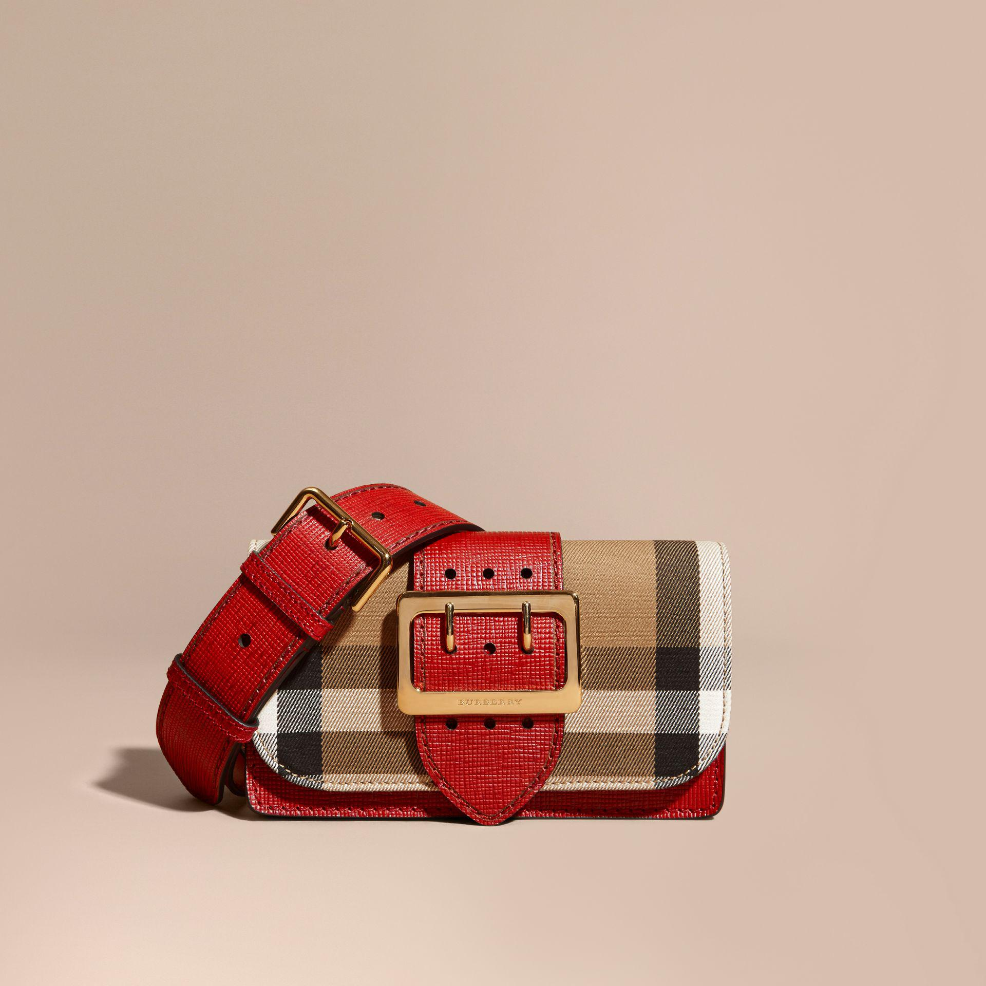 Lyst - Burberry Small Buckle House Check And Leather Shoulder Bag in ... 04cda74870c4f
