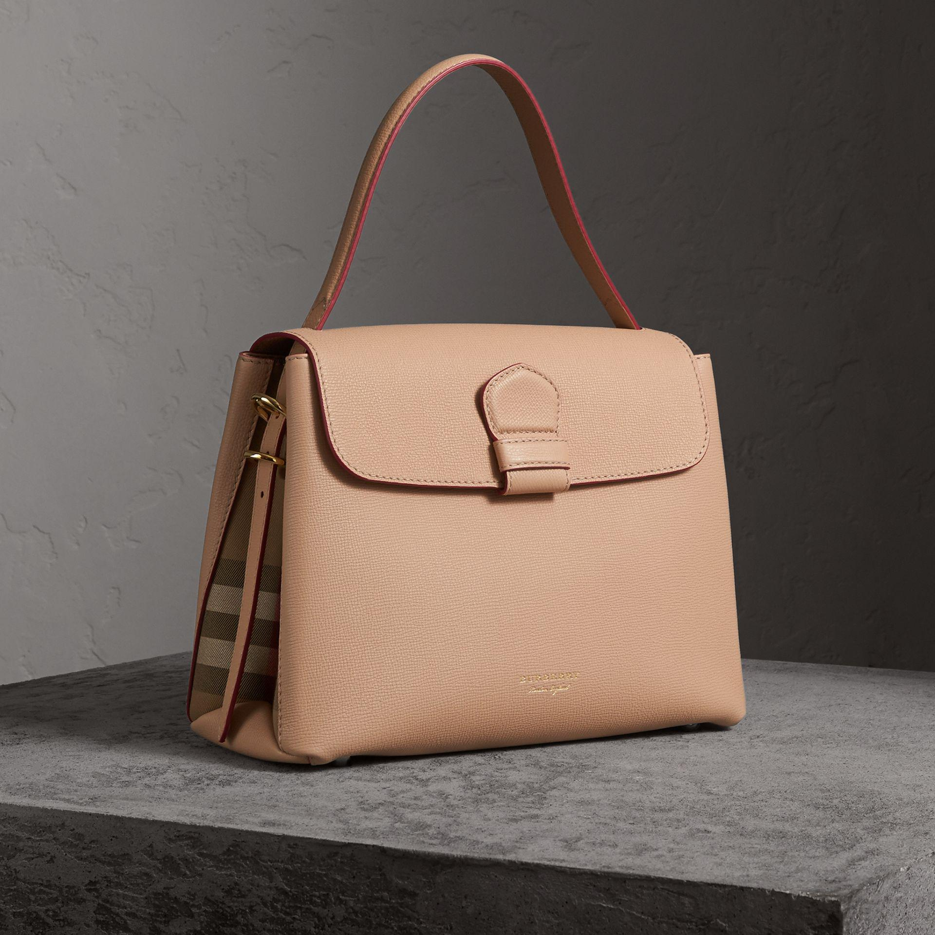 bb0fa87c030a Lyst - Burberry Medium Grainy Leather And House Check Tote Bag - Women