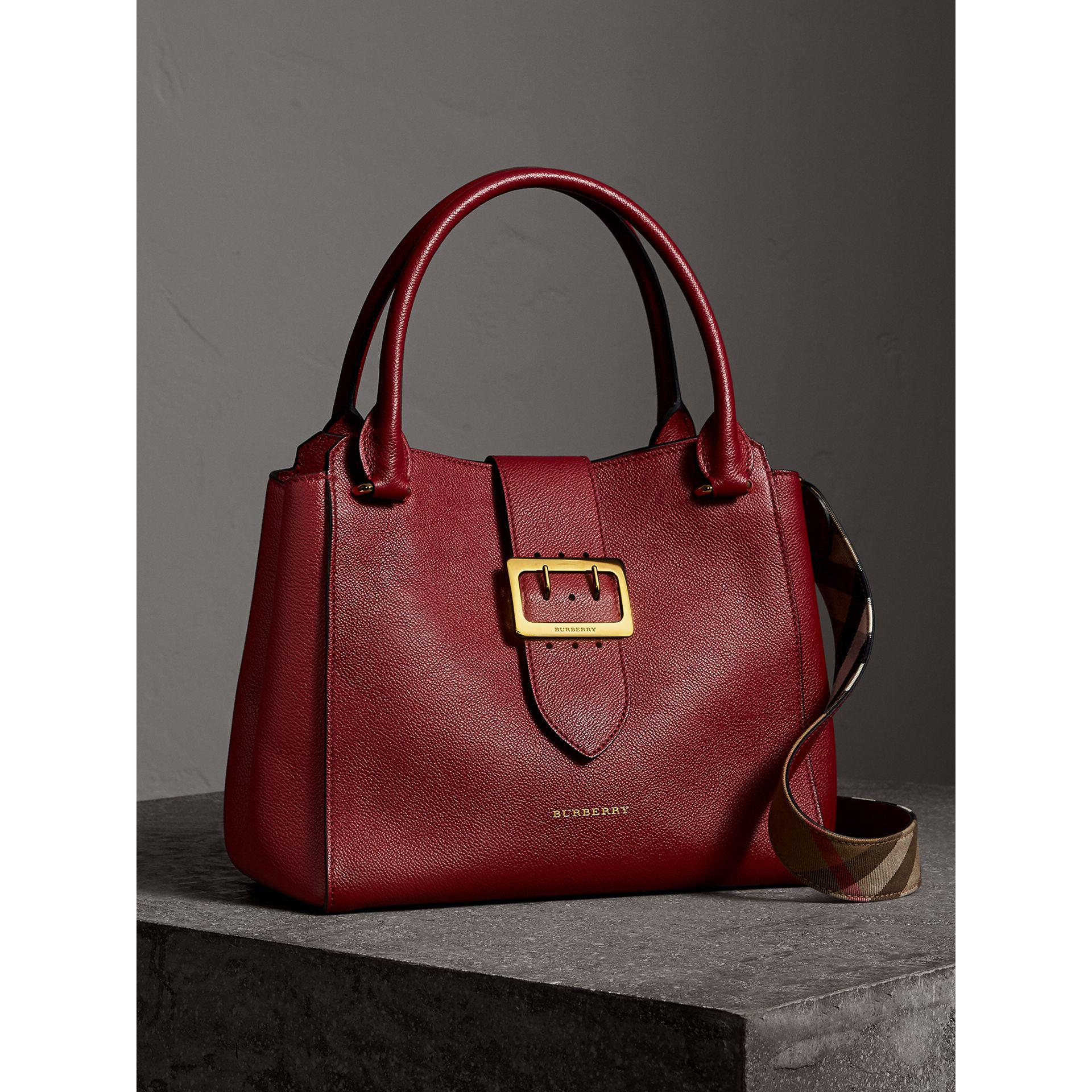 16ef1f25dd9e Lyst - Burberry The Medium Buckle Tote In Grainy Leather Parade Red ...