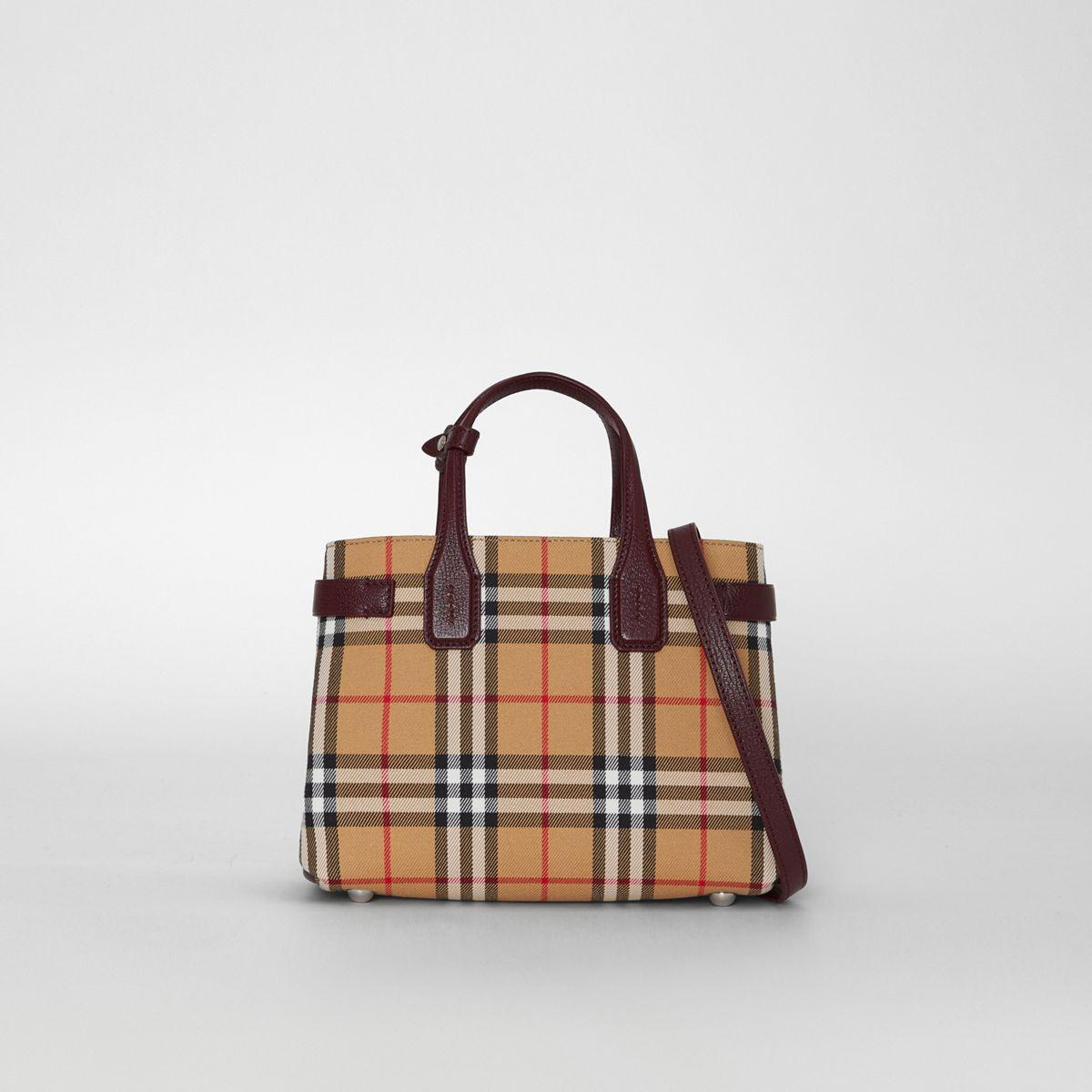 Burberry. Women s The Small Banner In Vintage Check And Leather f25f6243e3220