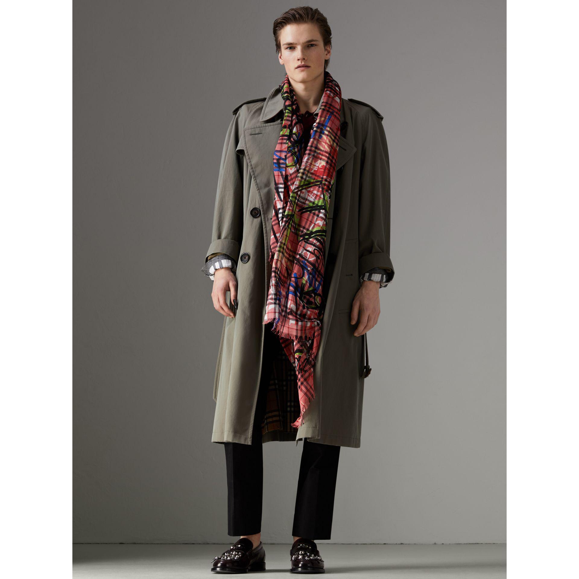Lyst - Écharpe en laine et soie à motif Vintage check et imprimé ... 3fb03b25bda