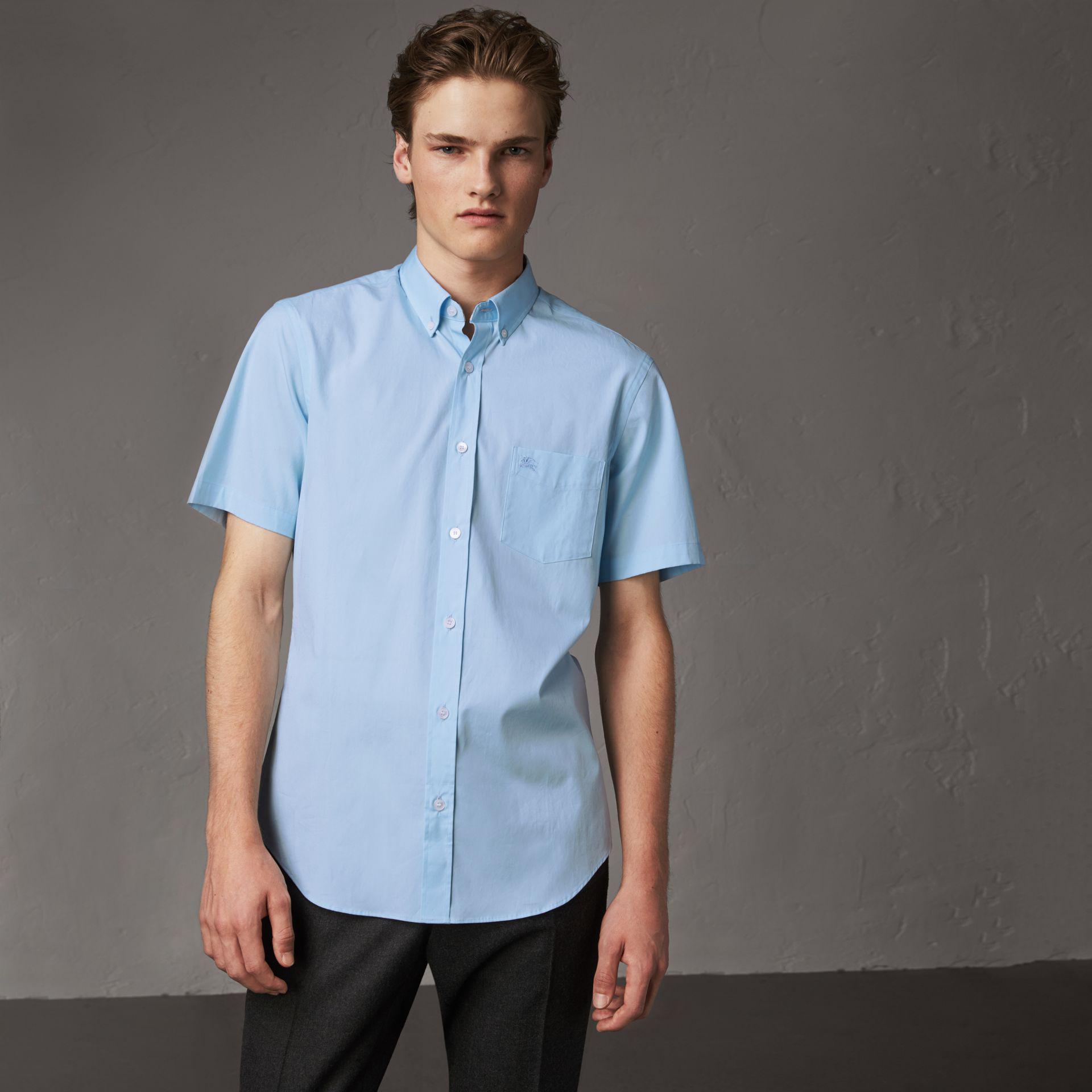 72998d180c3e Burberry Short-sleeved Stretch Cotton Poplin Shirt Pale Blue in Blue ...