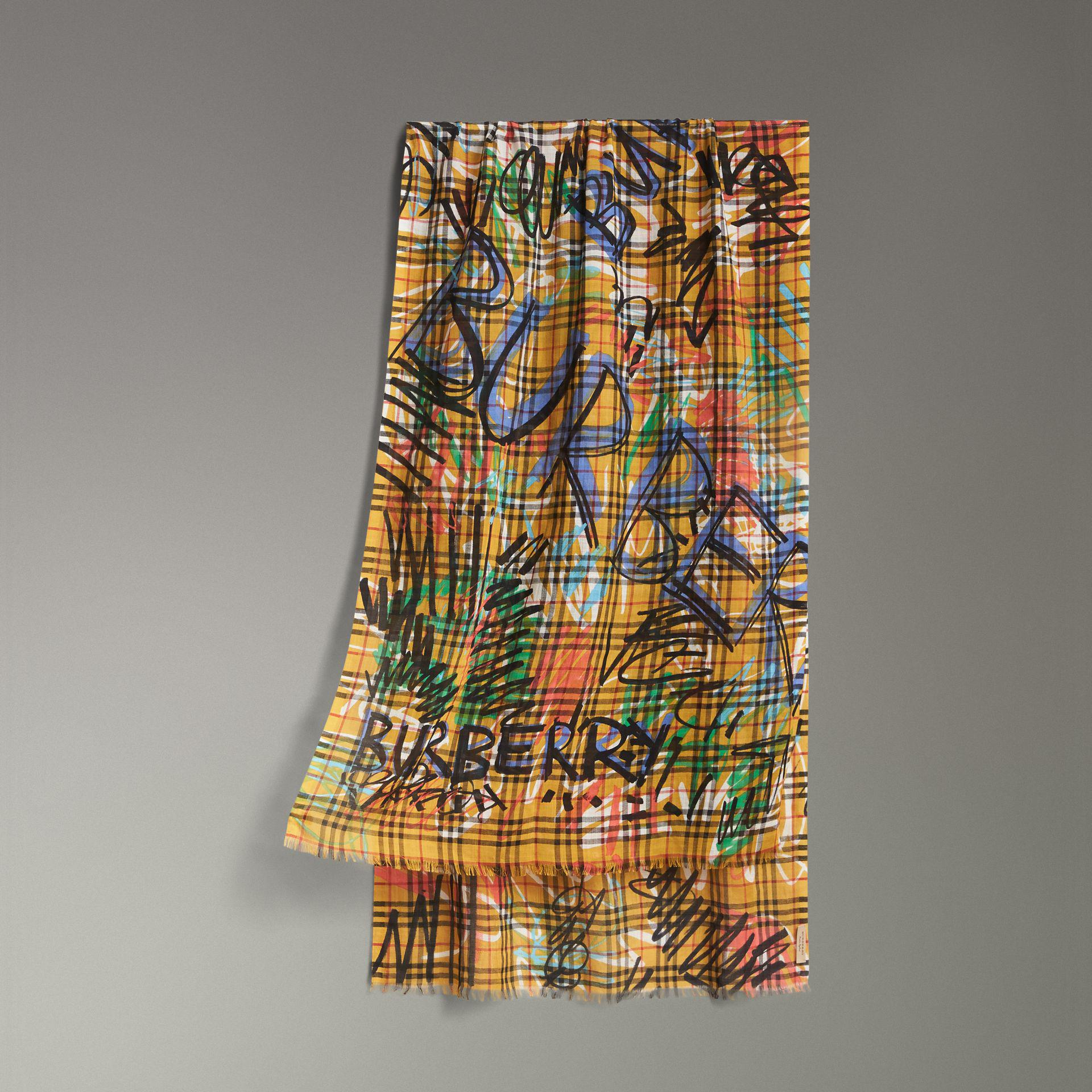 Graffiti Check wool and silk scarf Burberry