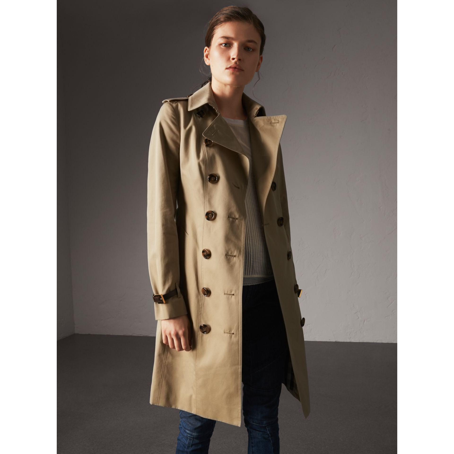 34d79501ac5838 Burberry Leather Trim Cotton Gabardine Trench Coat in Blue - Lyst