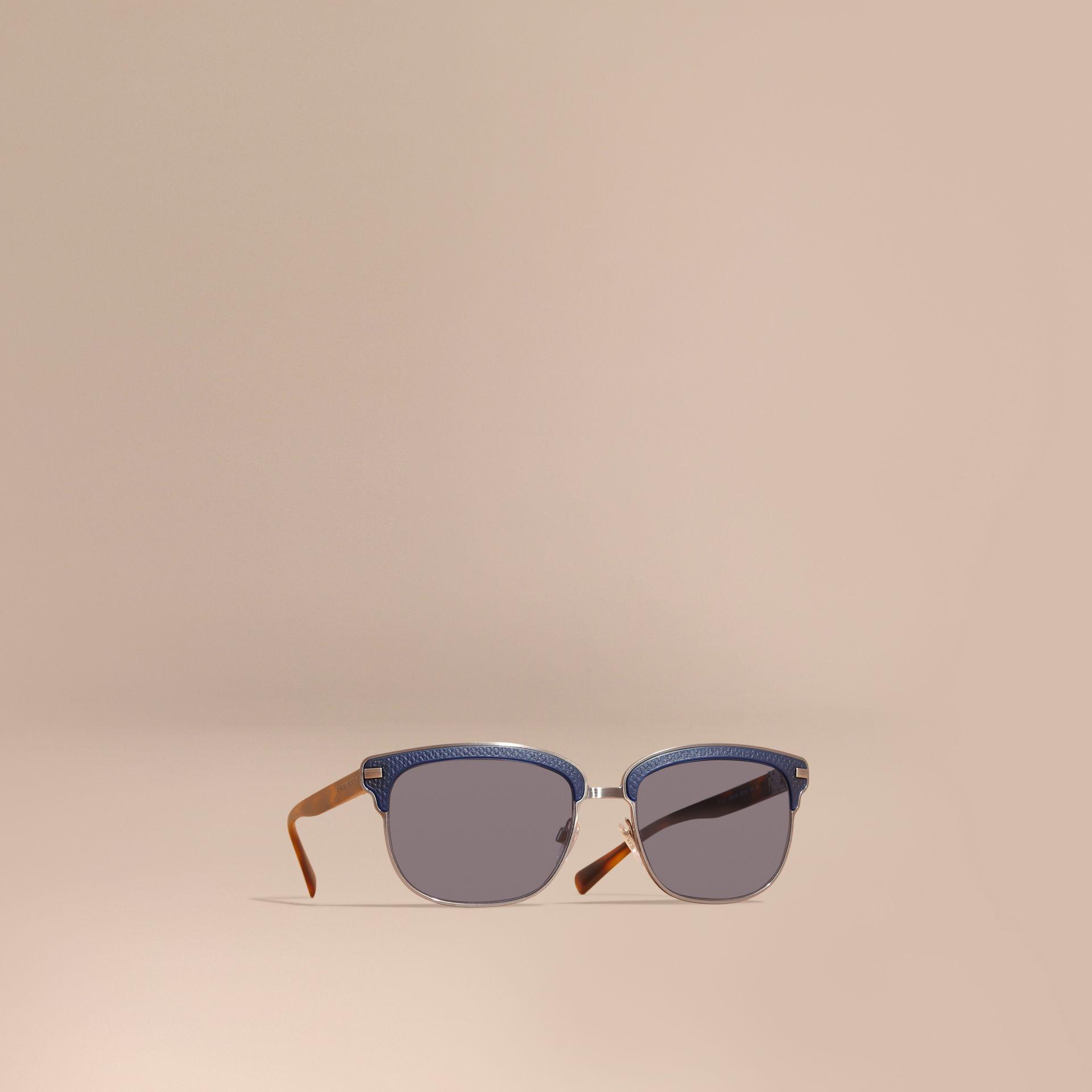 72b84ec1d1f Lyst - Burberry Textured Front Square Frame Sunglasses Dark Navy in ...