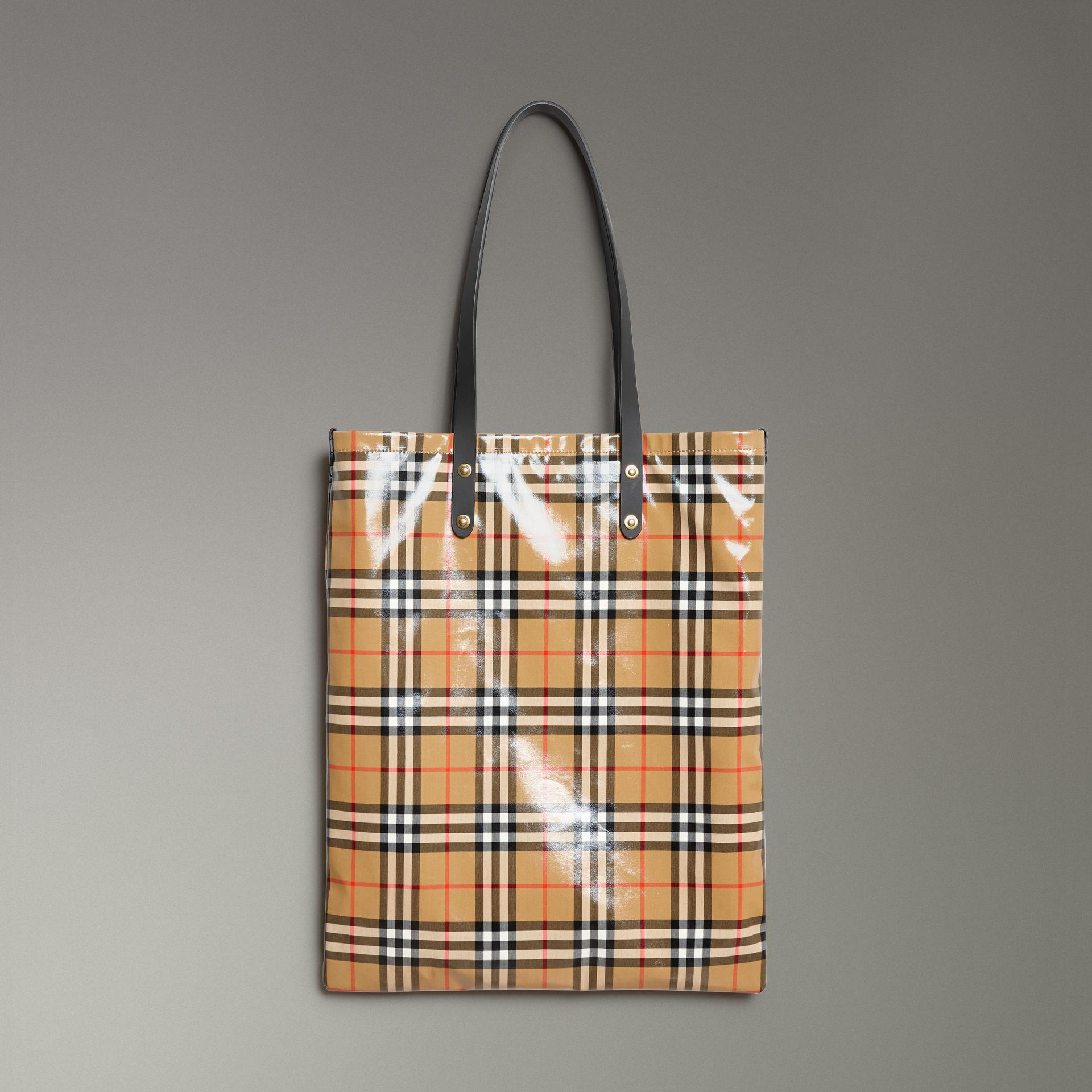 e9ad09c9a886 Lyst - Burberry Large Coated Vintage Check Shopper in Black
