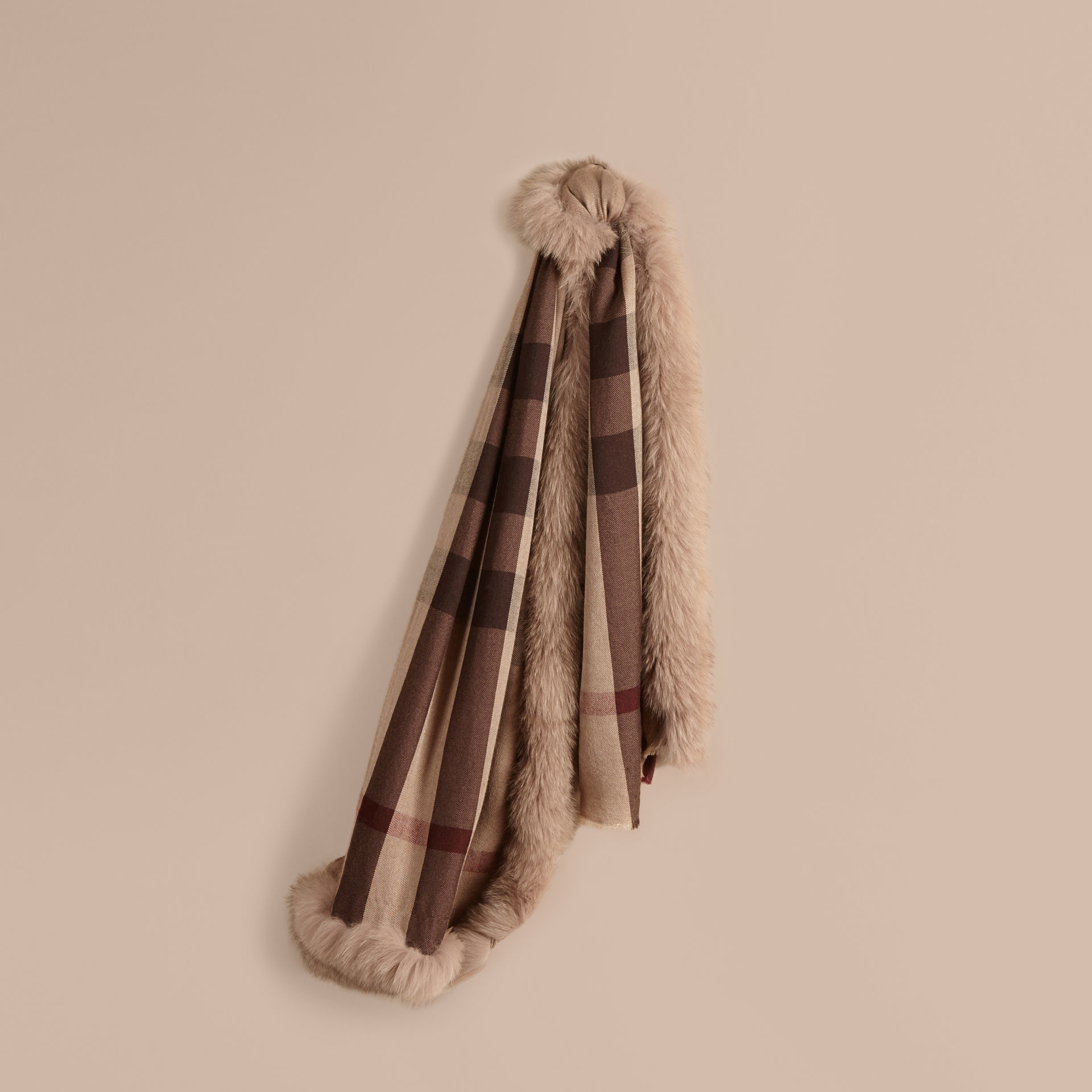 burberry fur trim check scarf smoked trench in