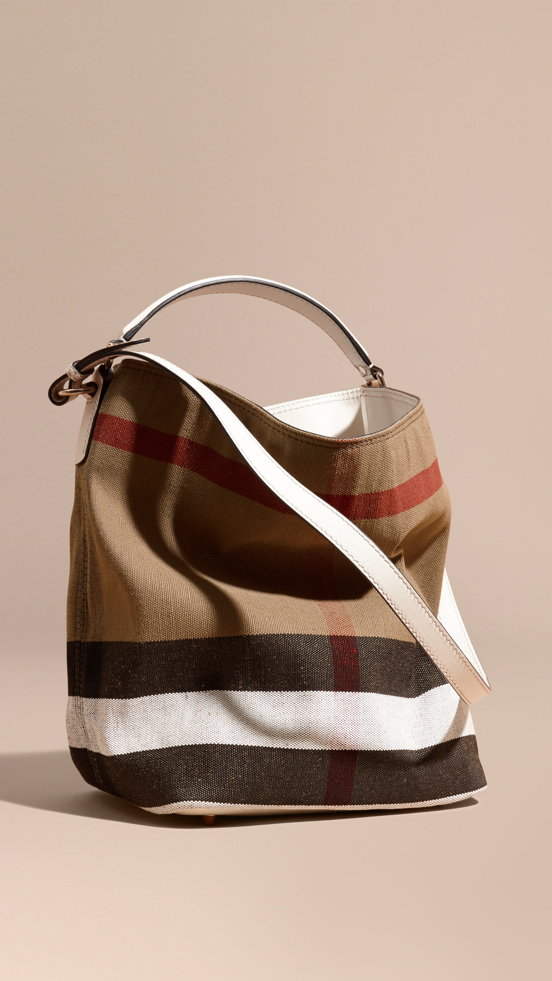 Burberry The Medium Ashby In Canvas Check And Leather . cfe52ed287a9a