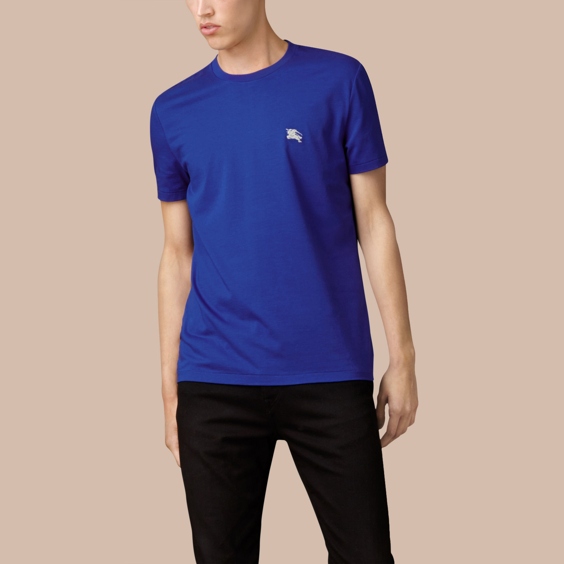 Burberry liquid soft cotton t shirt bright lapis in blue for Soft cotton dress shirts