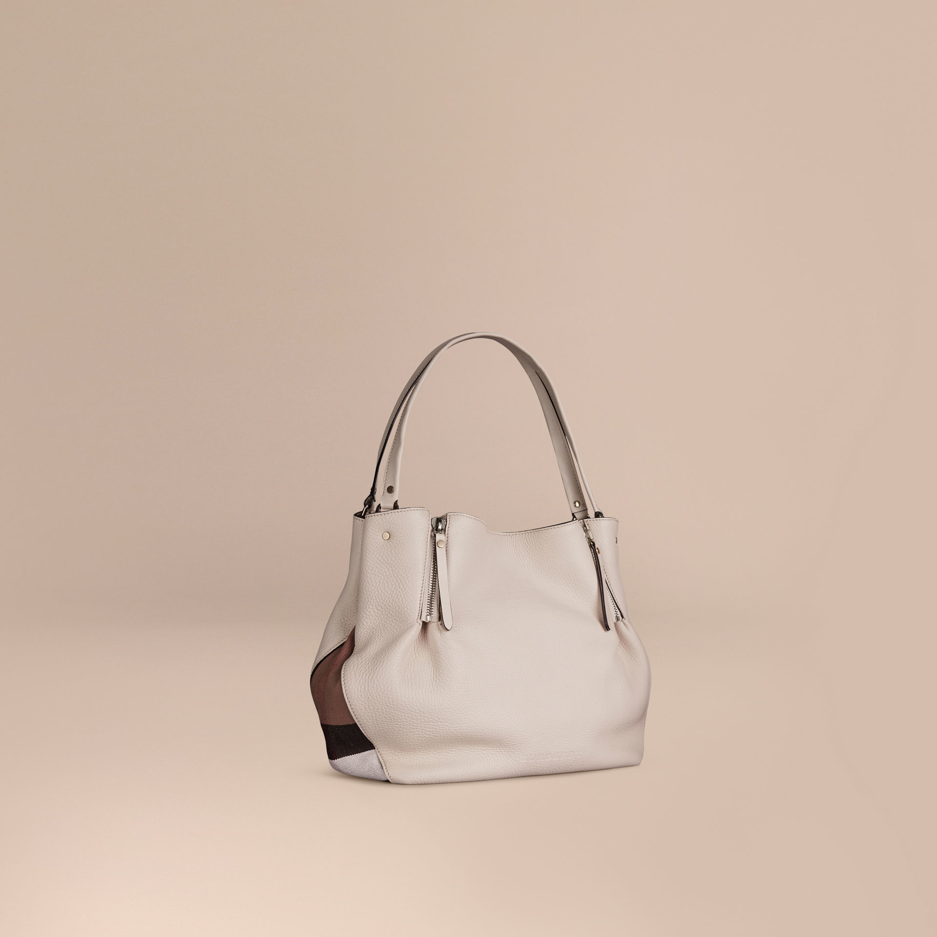 7b47db338d3b Lyst - Burberry Medium Check Detail Leather Tote Bag in White