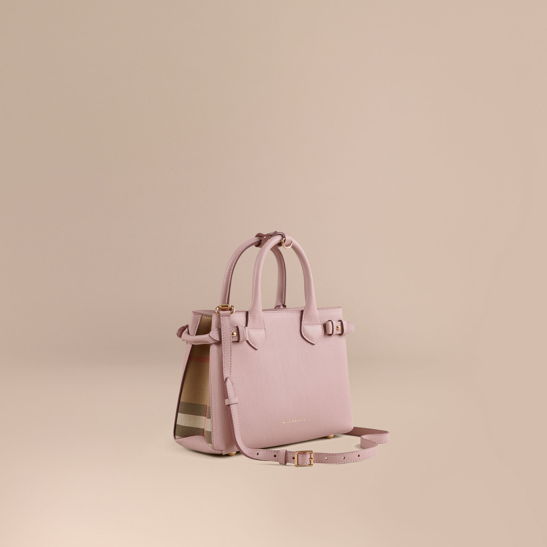 Burberry The Small Banner Leather And House Check Bag in Pink - Lyst ec592c5af8b53