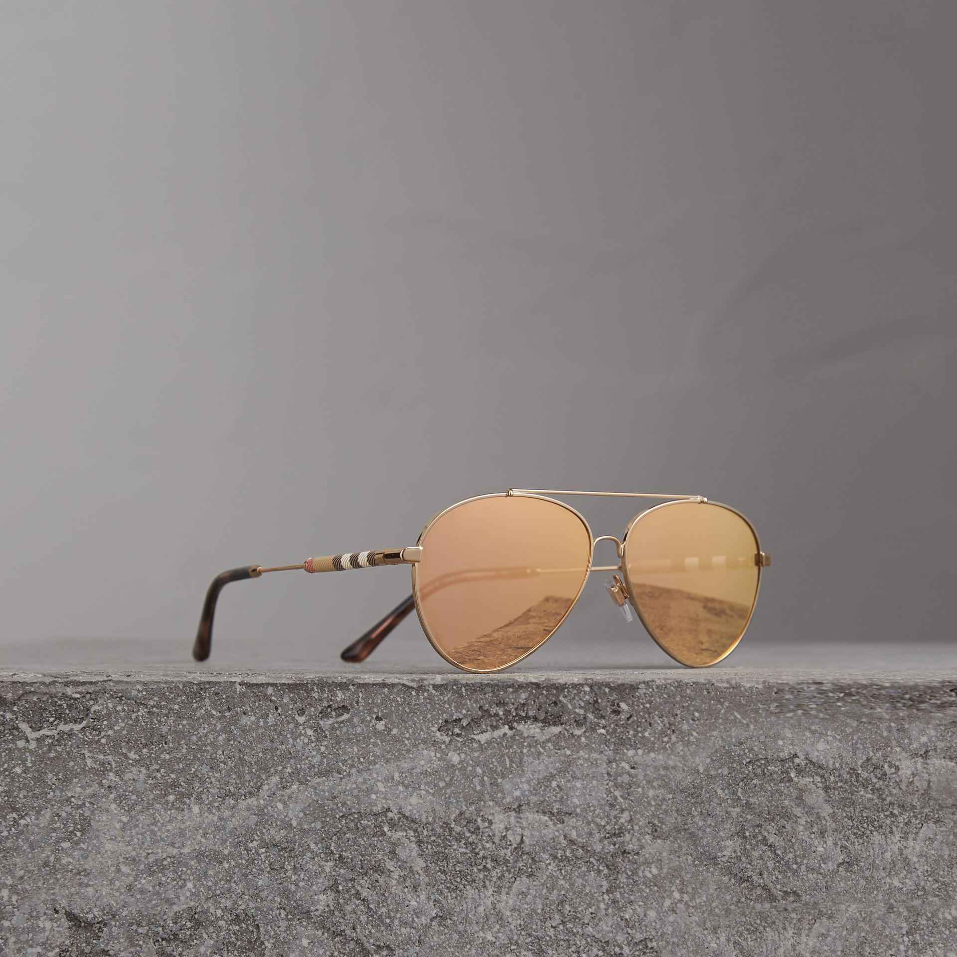 0ec1620473e Burberry Check Detail Mirrored Pilot Sunglasses