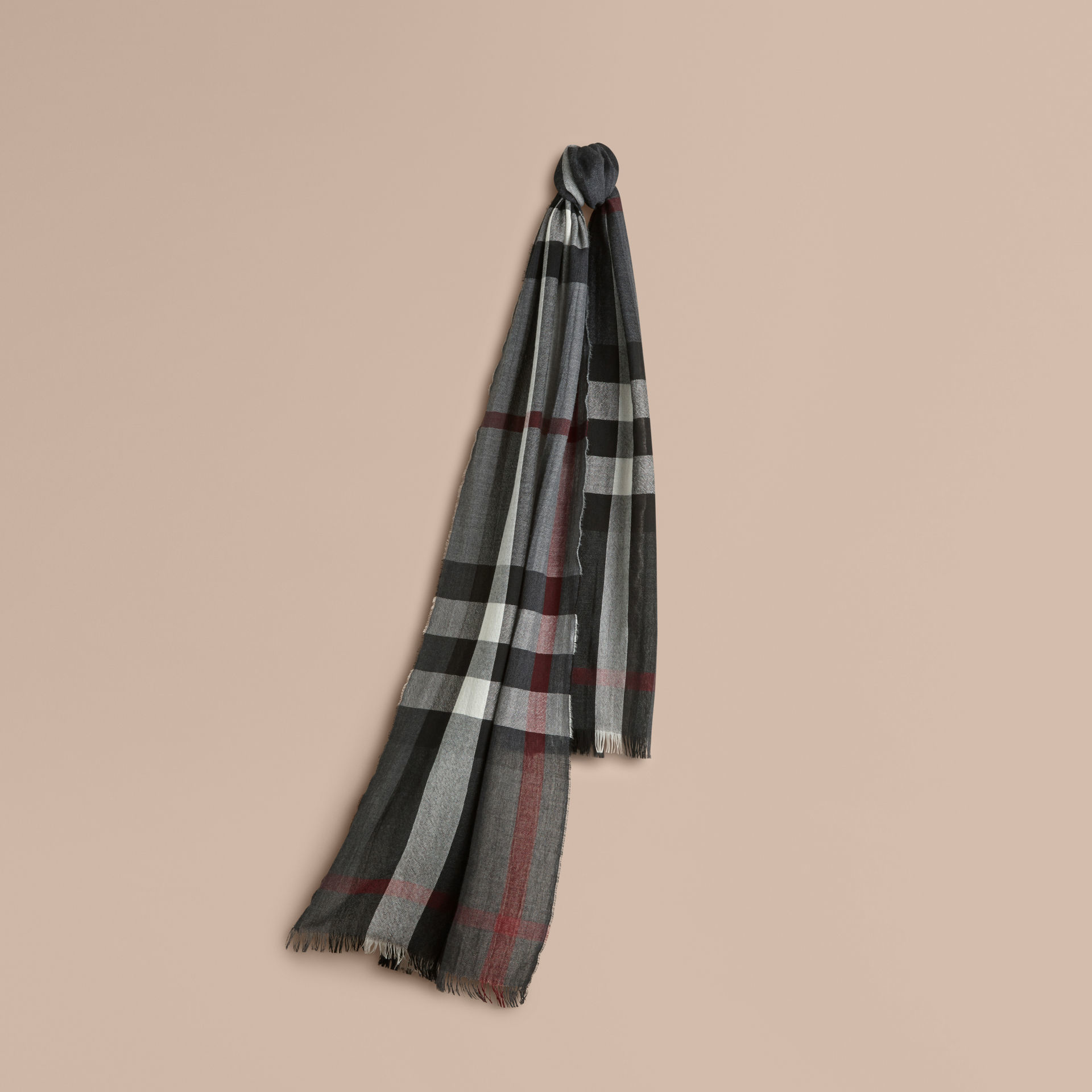 burberry lightweight check wool scarf charcoal in