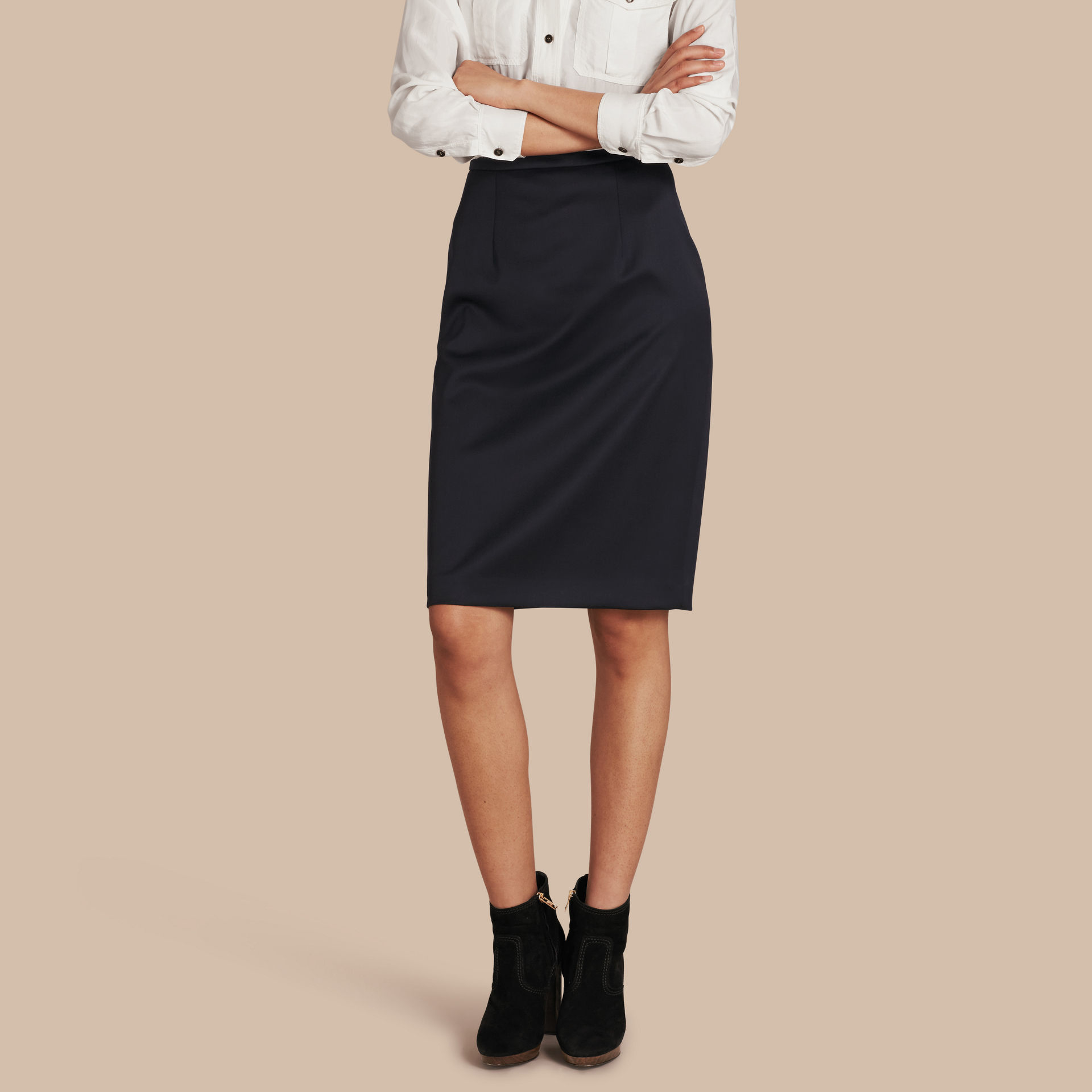 burberry stretch wool tailored pencil skirt ink in