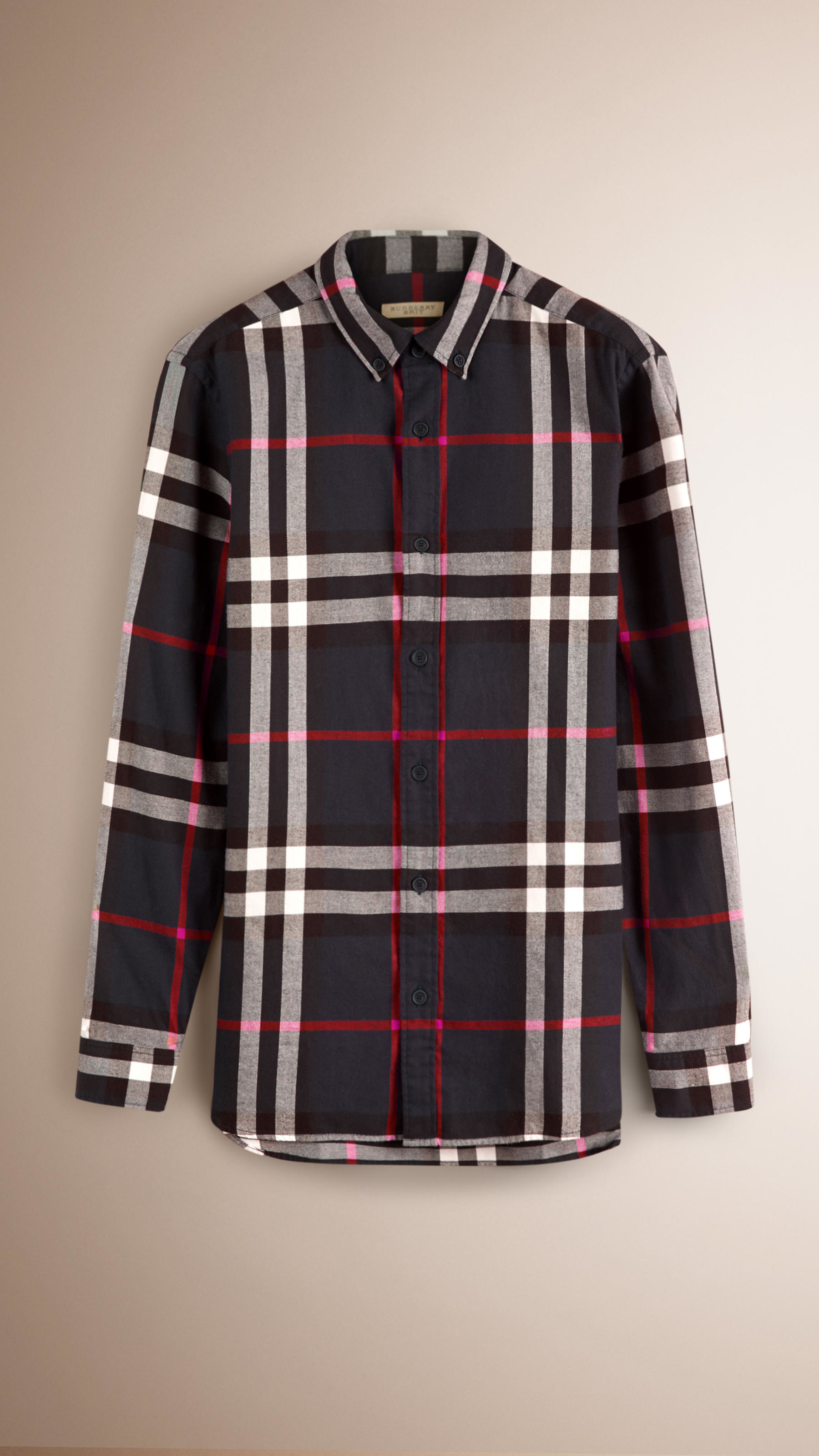 Burberry check cotton flannel shirt navy in white for men for White flannel shirt mens